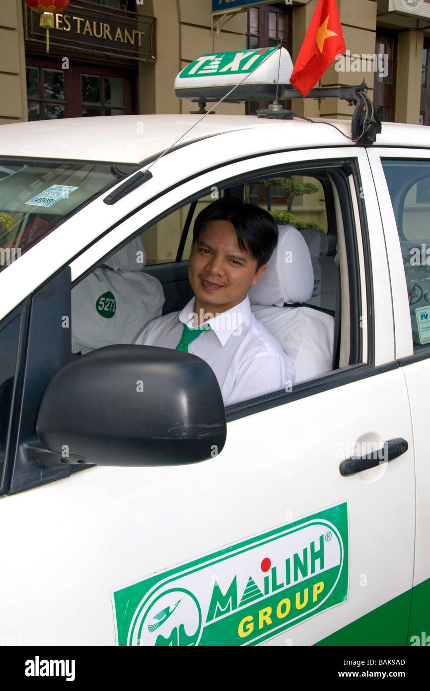 Vietnamese taxi cab driver in Ho Chi Minh City Vietnam - Stock Image
