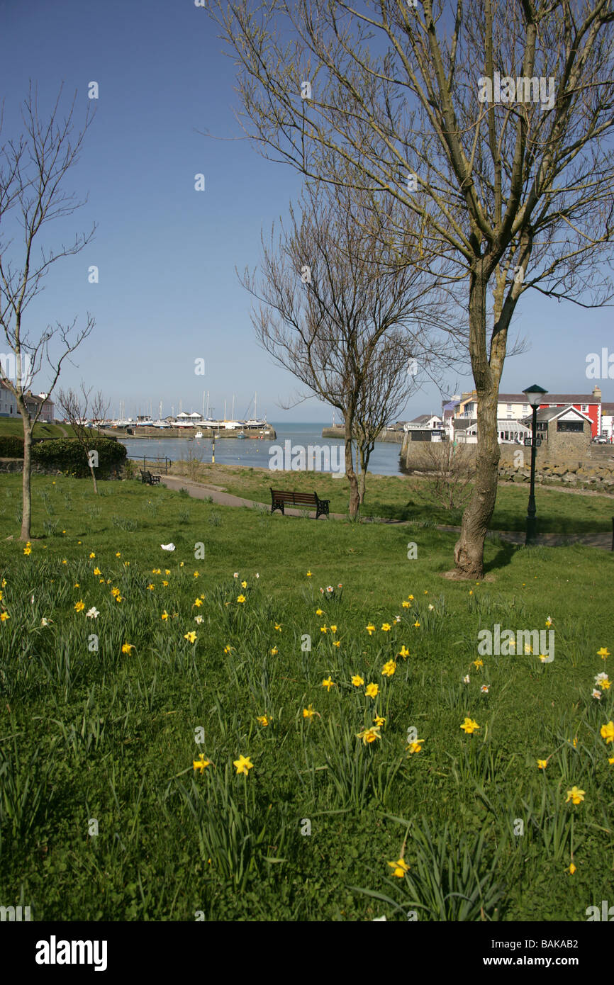 Town of Aberaeron, Wales. Scenic view of Aberaeron Harbour from nearby public park. - Stock Image