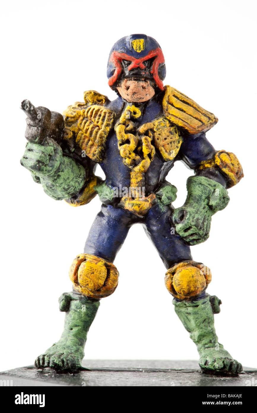 Figure of Judge Dredd from british comic book 2000 AD - Stock Image