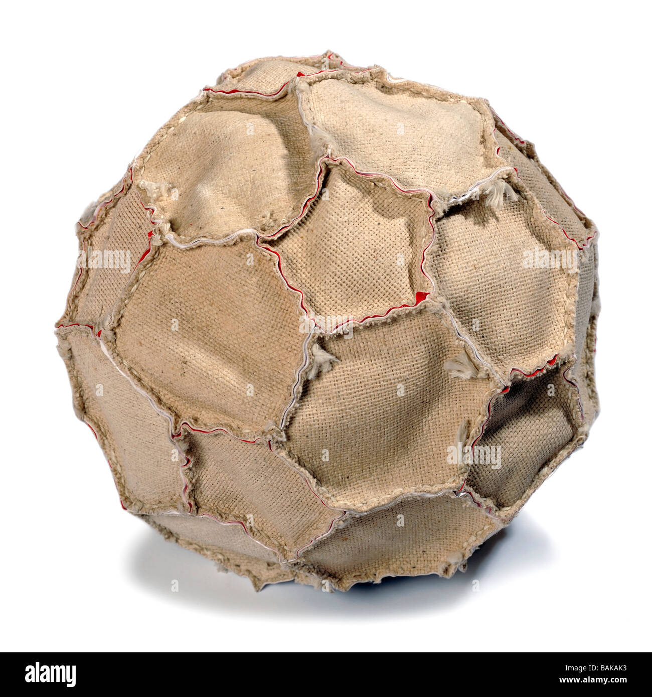 Inside out leather football - Stock Image