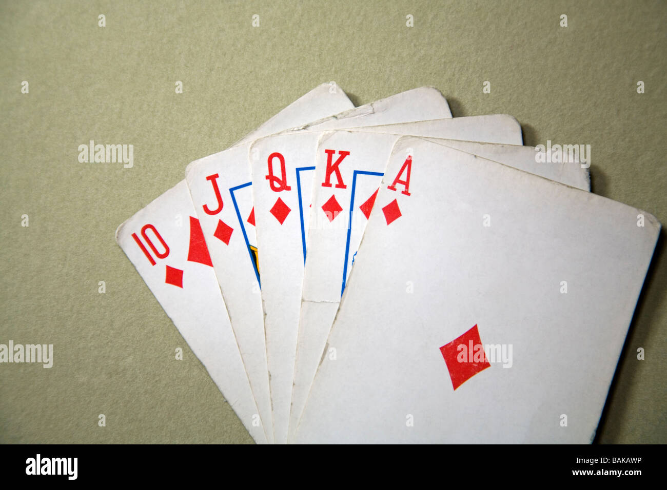 In poker a Royal Flush is the highestcard hand a player can get The cards are ace king queen jack and ten of one - Stock Image