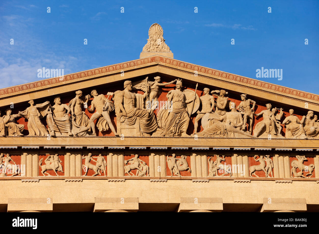 Detail on the Parthenon Replica in Centennial Park, Nashville, Tennessee, USA - Stock Image