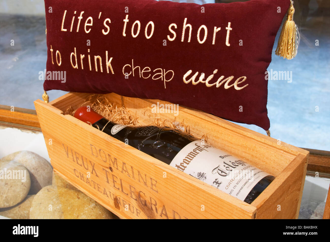 life is too short to drink cheap wine dom du vieux telegraphe chateauneuf du pape rhone france - Stock Image