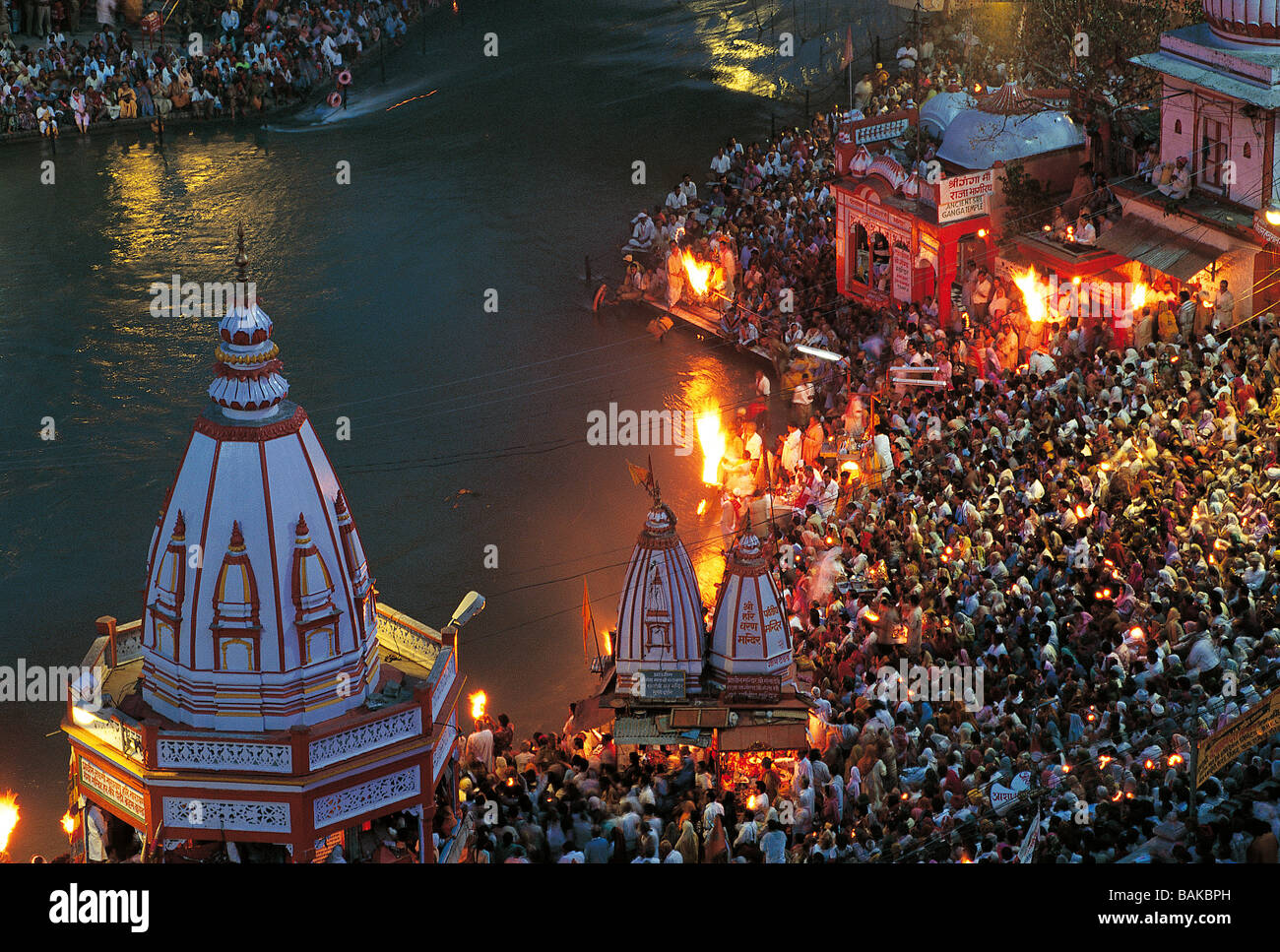 India, Uttarakhand State, Haridwar, the Kumbh Mela is a Hindu pilgrimage that occurs four times every twelve years - Stock Image