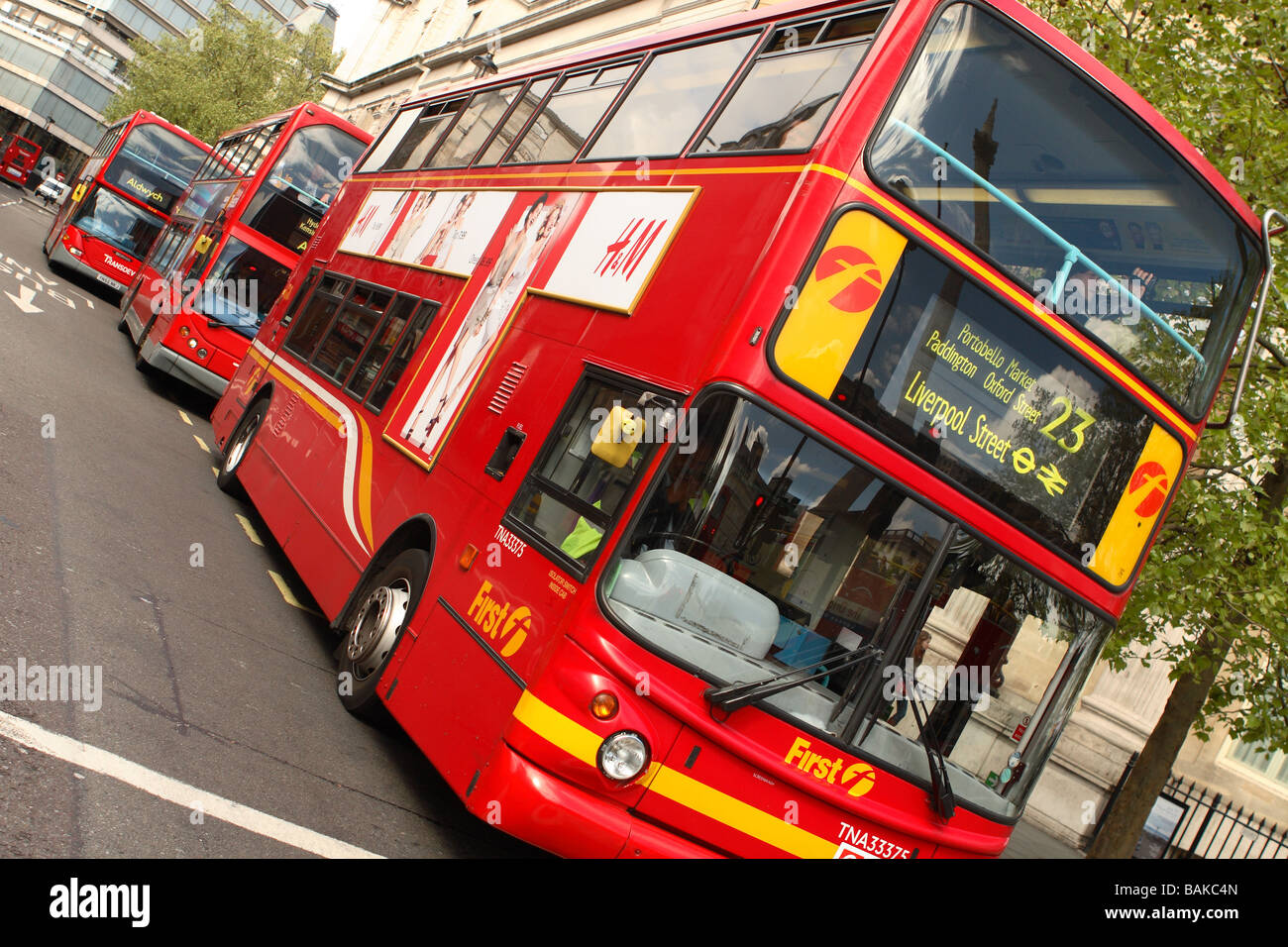 London doubledecker bus operated by the First Group route 23 to Liverpool Street - Stock Image