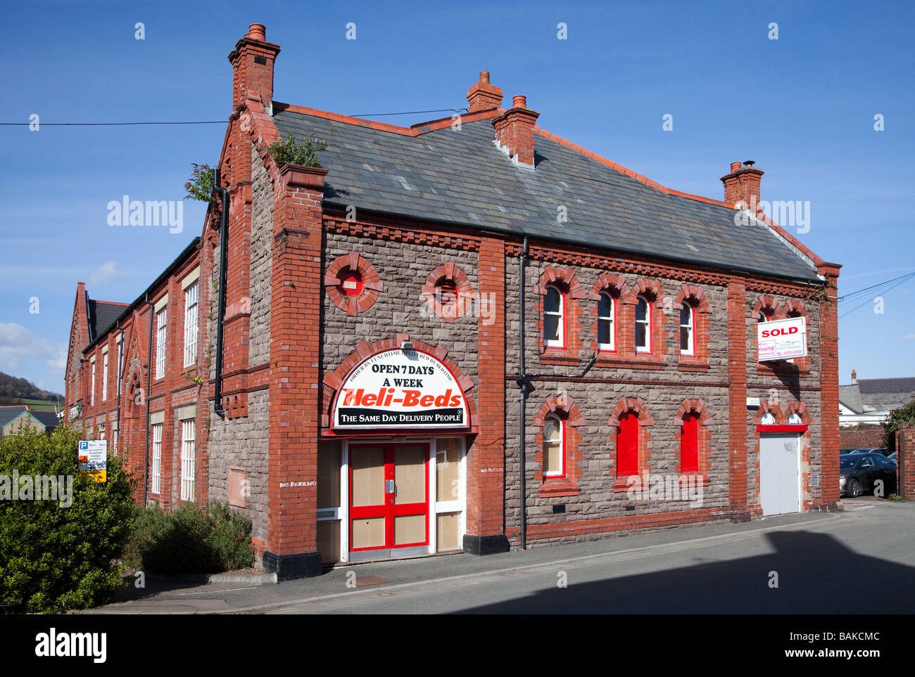 The Drill Hall Abergavenny in April 2009 after purchase for cinema conversion but before work began Wales UK - Stock Image