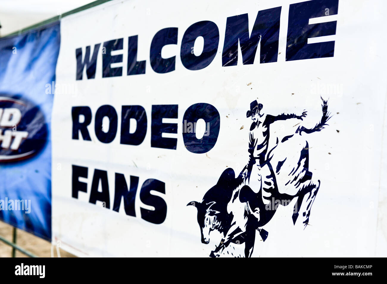 Welcome Rode Fans sign greeting attendees at the Windy City Rodeo a gay rodeo held annually near Chicago Illinois - Stock Image