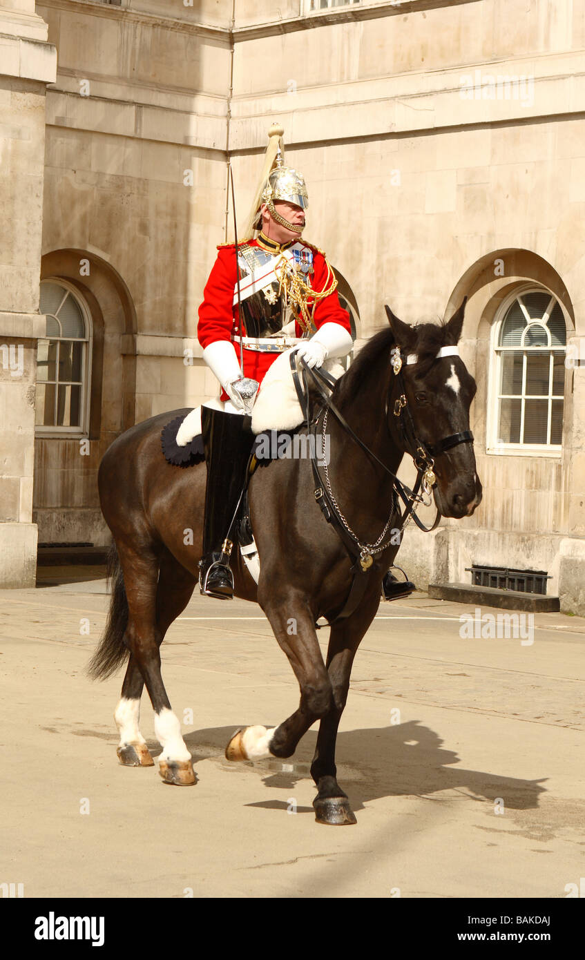 London member of the Life Guards part of the Household Cavalry on parade at Horse Guards Parade in Whitehall London Stock Photo