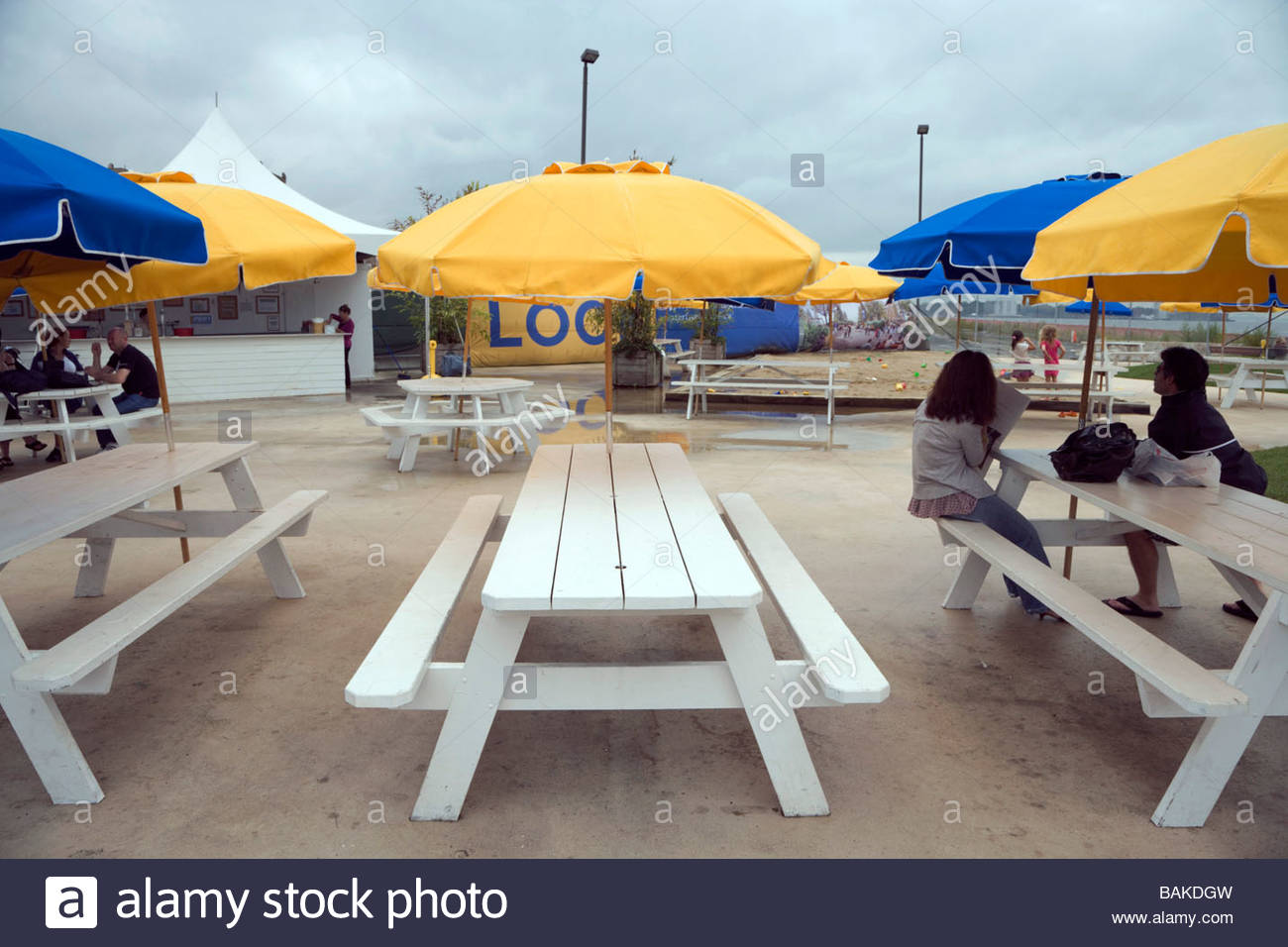a rained away beach day - Stock Image