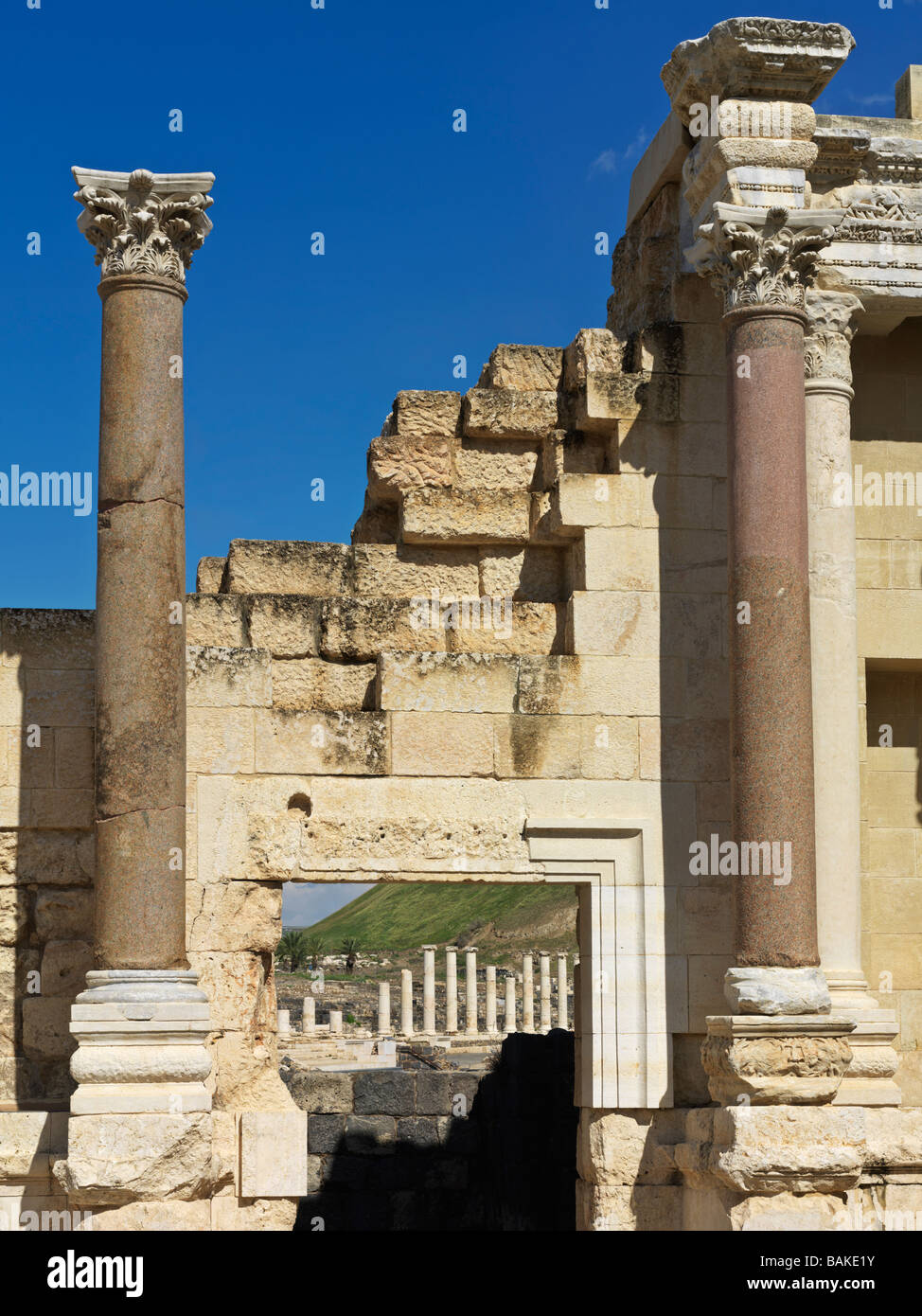 Israel Bet She'an Roman Theater ruins - Stock Image