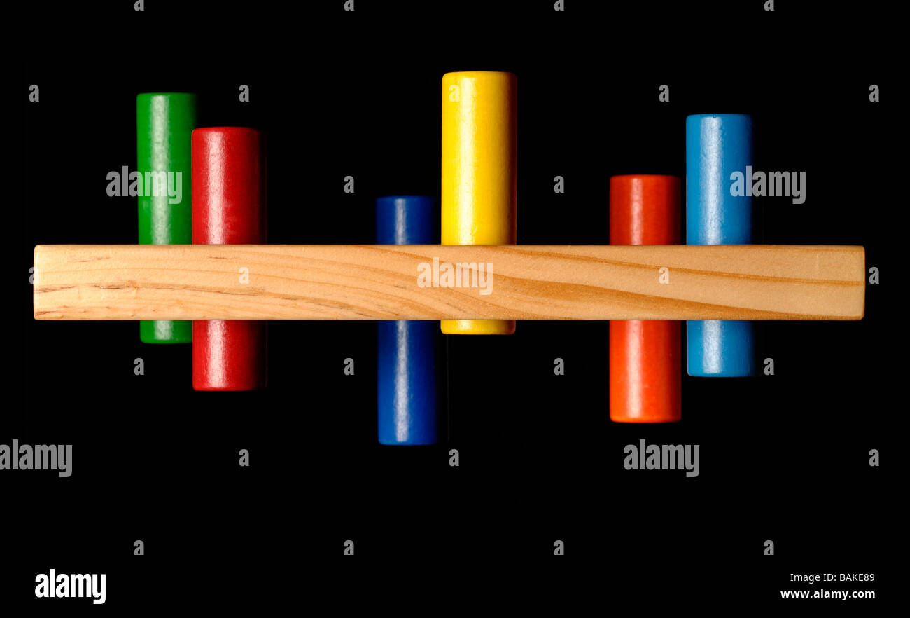 Wooden peg toy - Stock Image