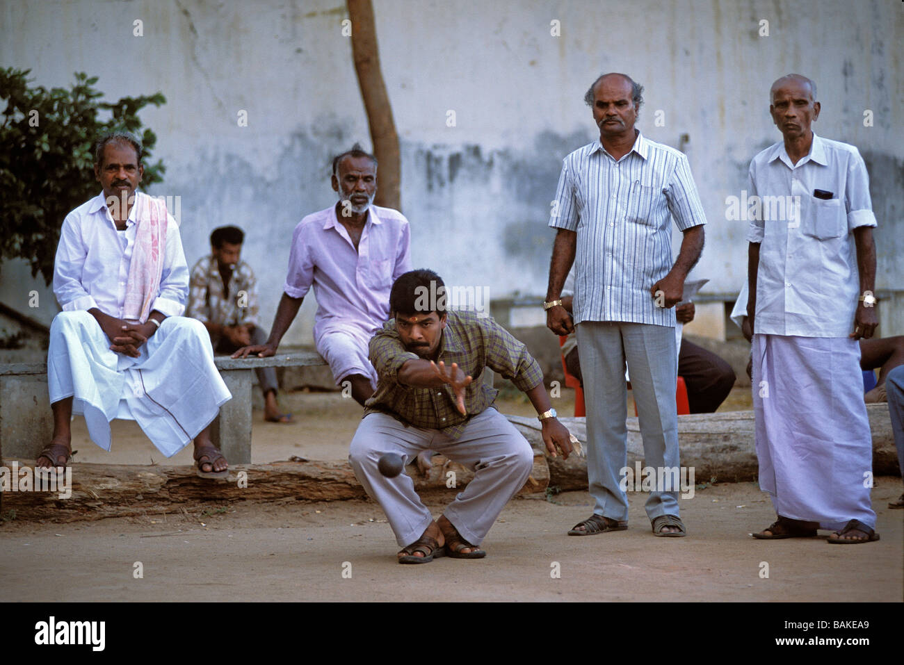 India, Pondicherry Territory, Pondicherry, French consulate, Petanque game Stock Photo