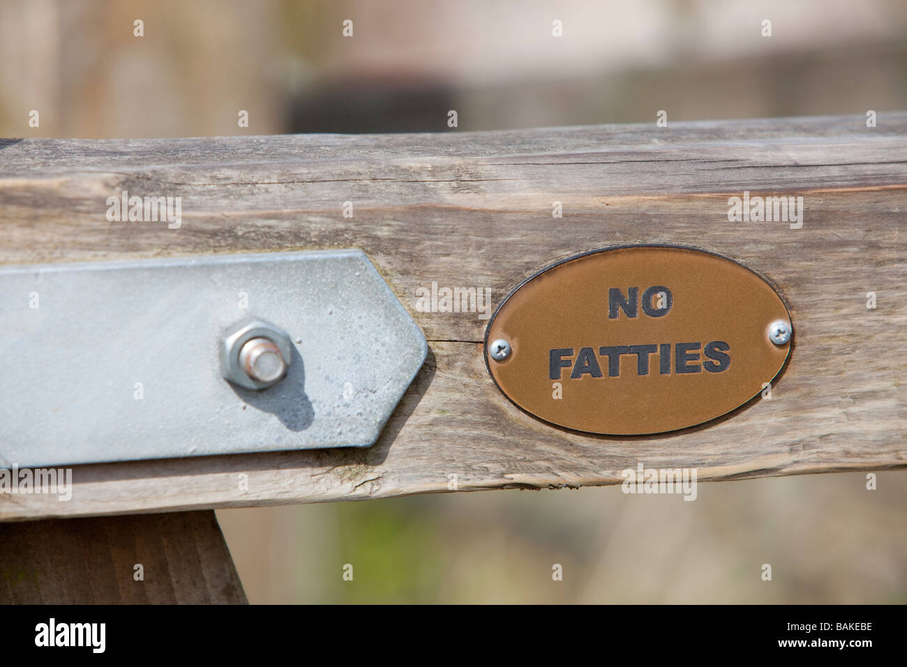 A no fatties sign on a gate on a footpath in Clitheroe Lancashire UK - Stock Image