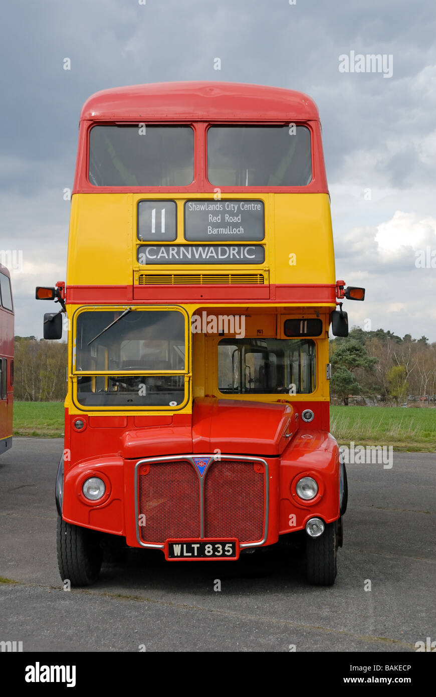Front wiew of WLT 835 Preserved Clydeside Scottish AEC Clydemaster Routemaster RM 835 at the Cobham Bus Museum Annual - Stock Image