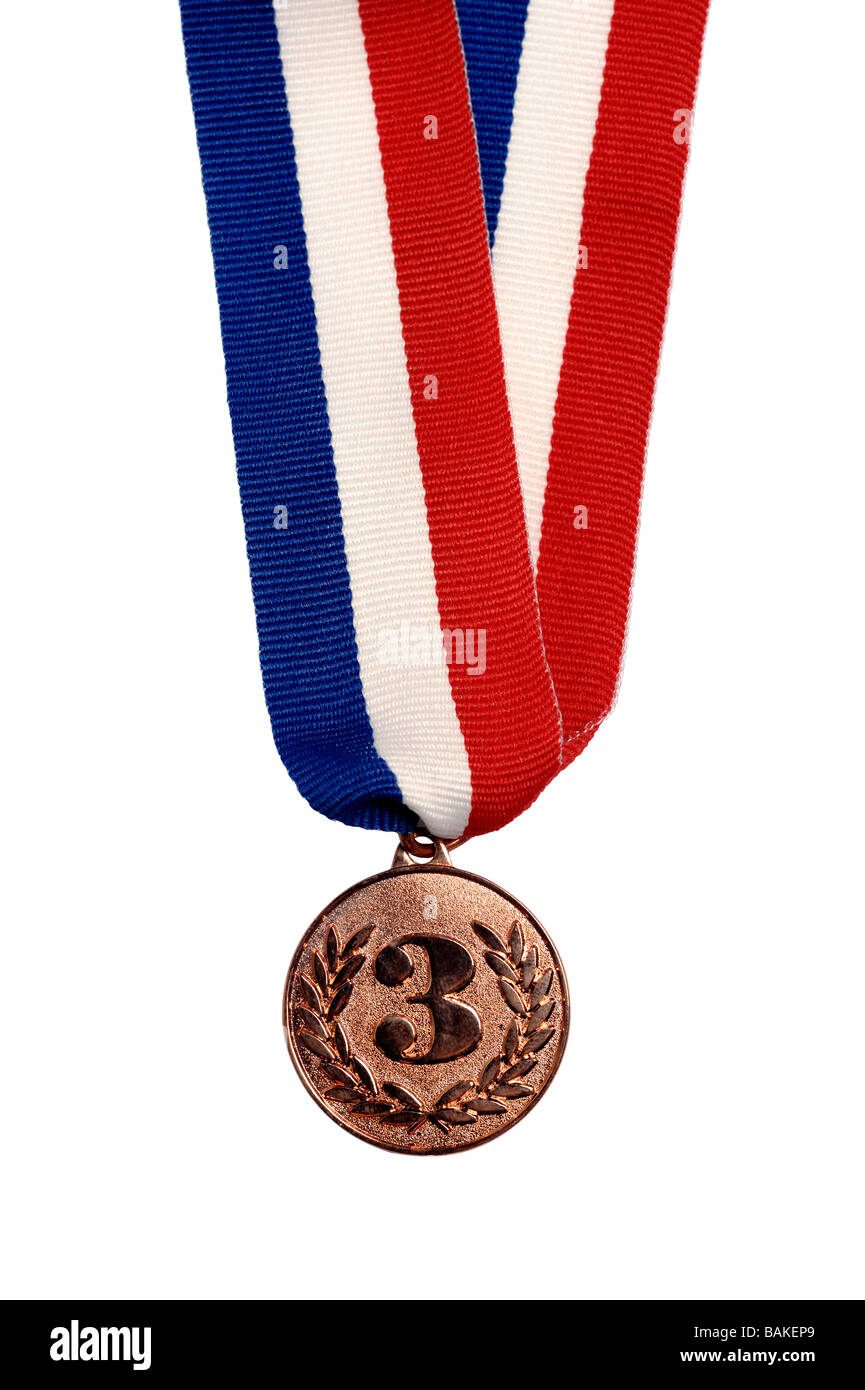 Bronze third place medal - Stock Image