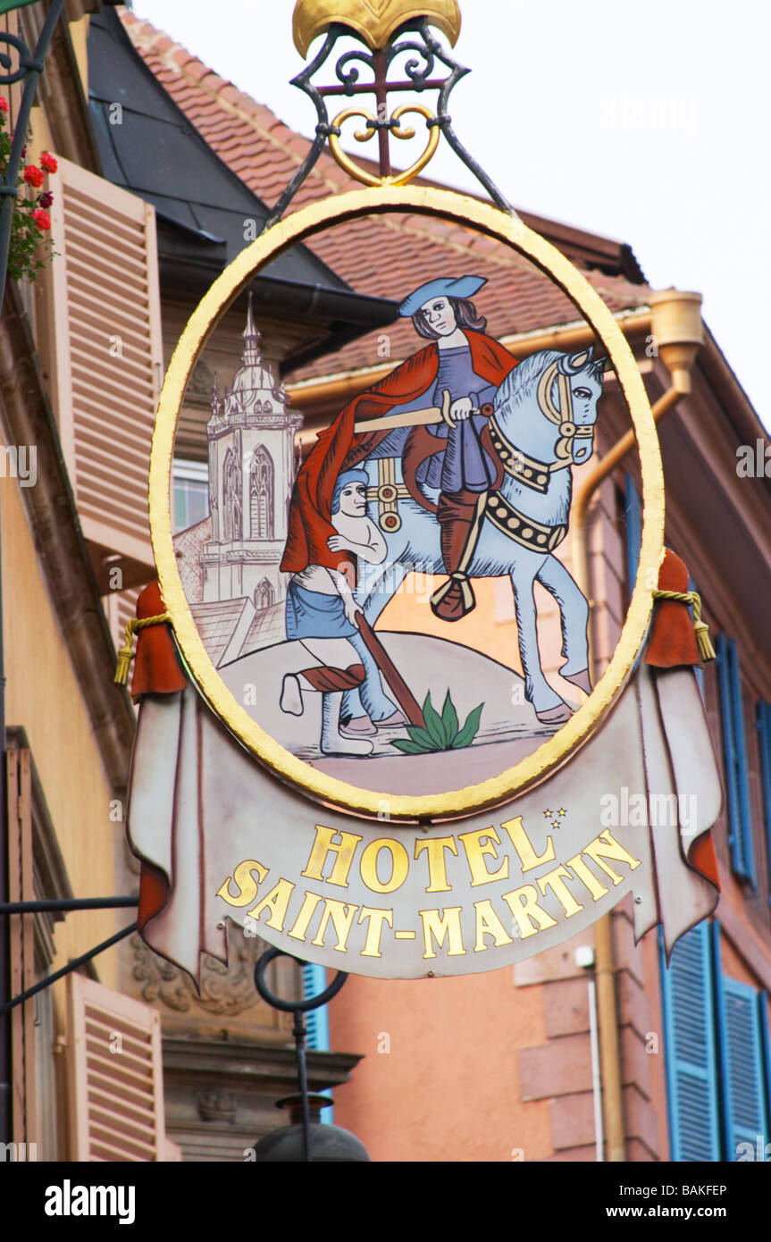 wrought iron sign hotel saint martin colmar alsace france - Stock Image