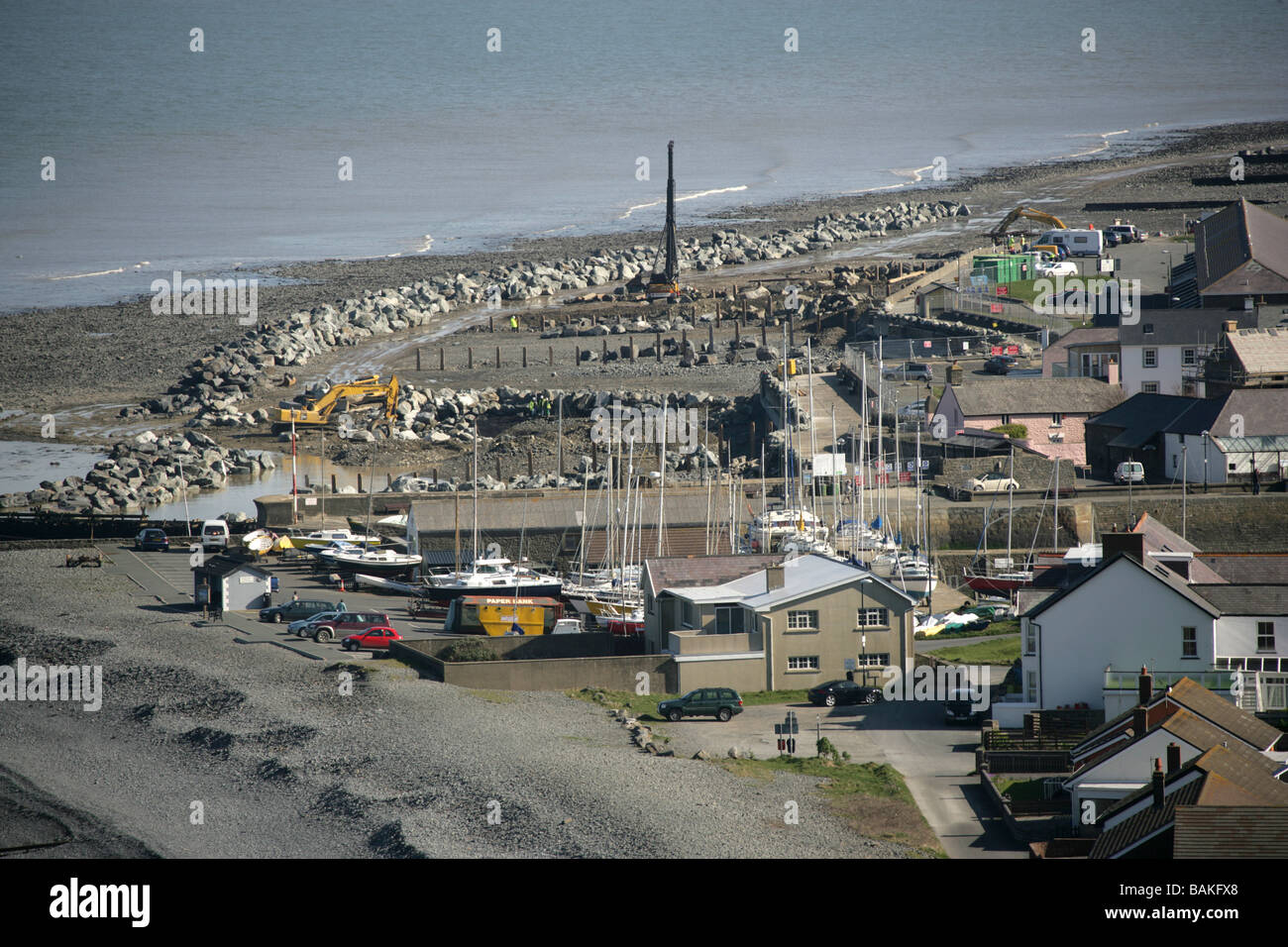 Town of Aberaeron, Wales. Distant aerial view of sea defences construction works at Aberaeron seafront. - Stock Image