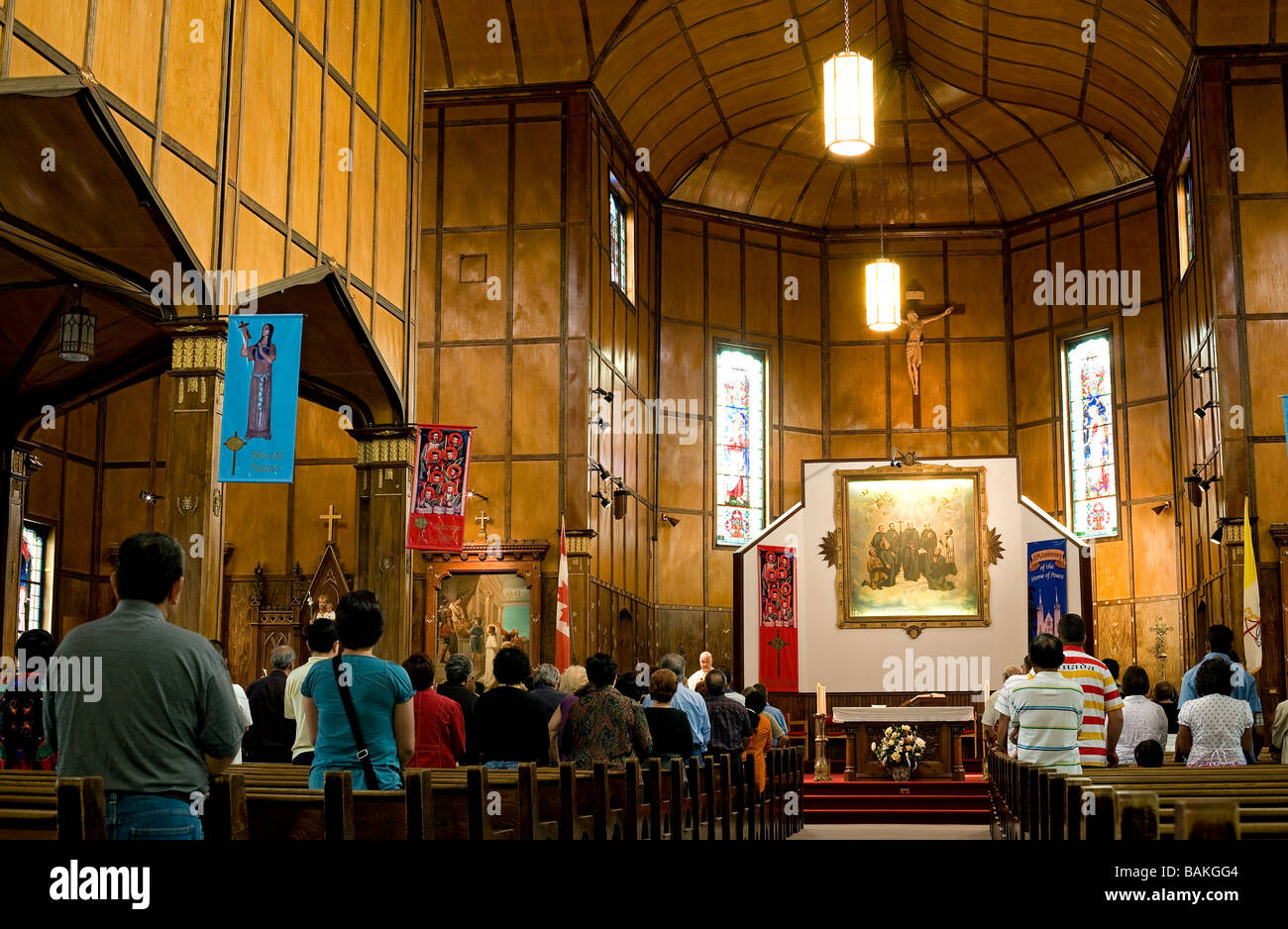 Canada, Ontario Province, Midland-Penetanguishene Region, Sainte Marie among the Hurons, Martyrdom Sanctuary Church - Stock Image
