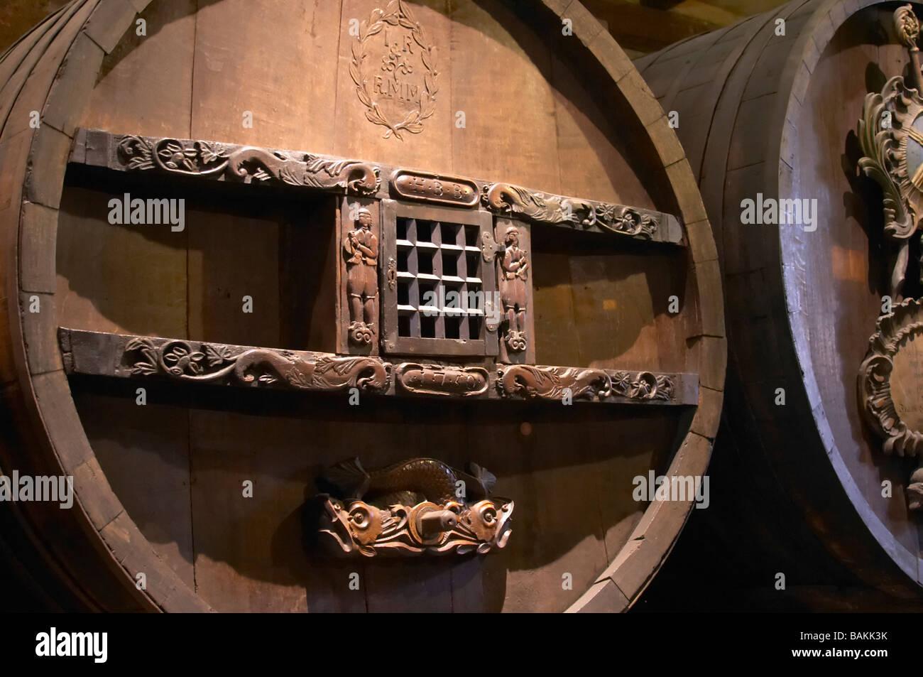 old antique carved wooden vat unterlinden museum colmar alsace france - Stock Image