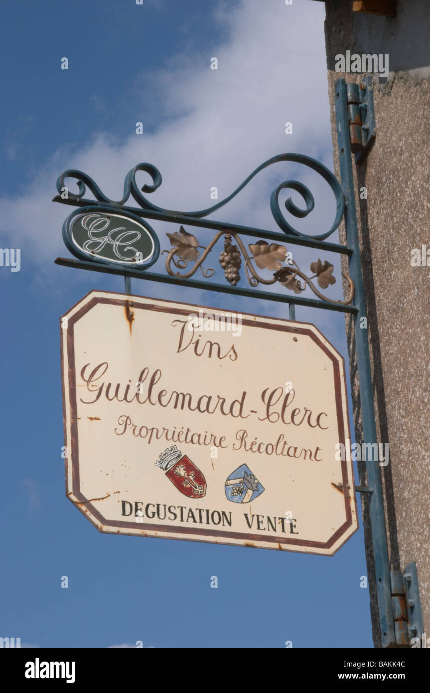 wrought iron sign vins guillemard clerc colmar alsace france - Stock Image