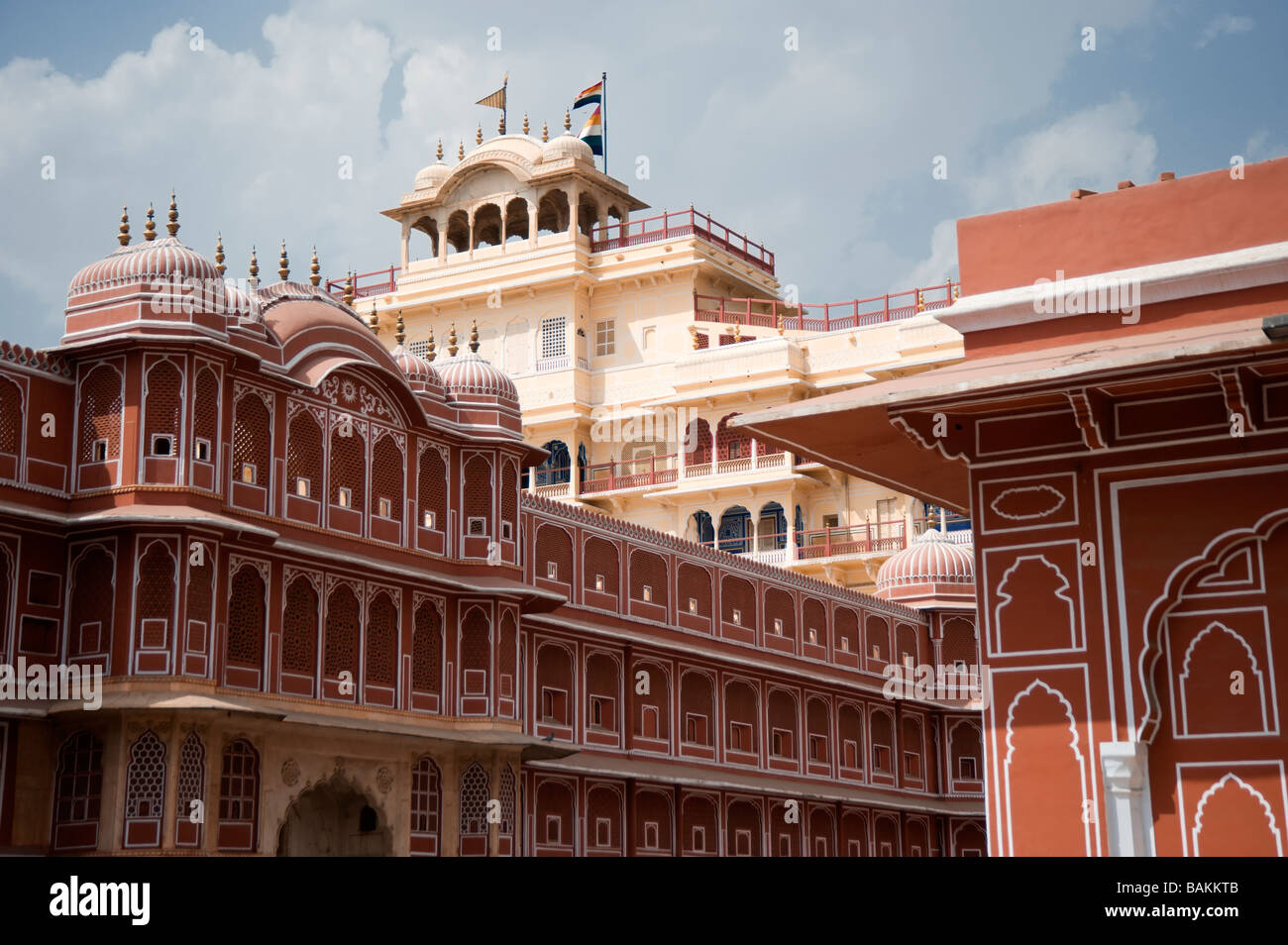 Jaipur City Palace of Jai Singh II Inner courtyard with the Riddhi Siddhi Pol and the Chandra Mahal Palace in the - Stock Image