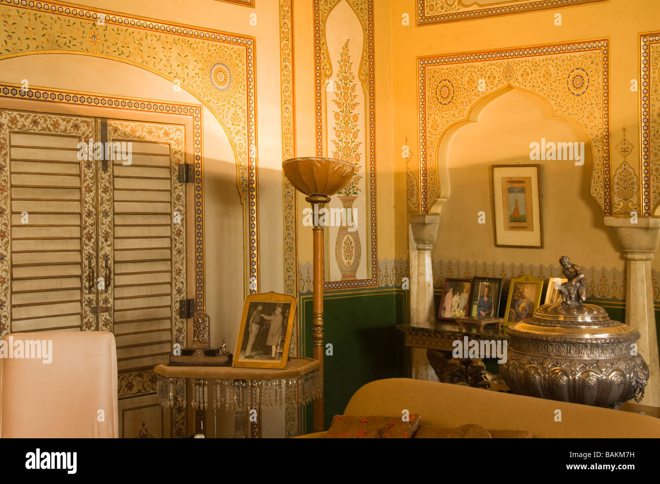 Jaipur City Palace of Jai Singh II Private apartments in the Chandra Mahal Rajasthan India - Stock Image