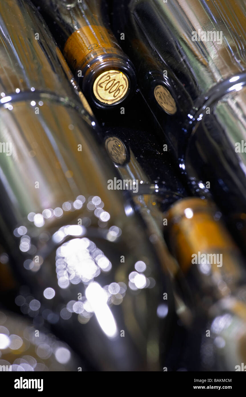 bottle with moulded relief on the neck domaine giraud chateauneuf du pape rhone france Stock Photo