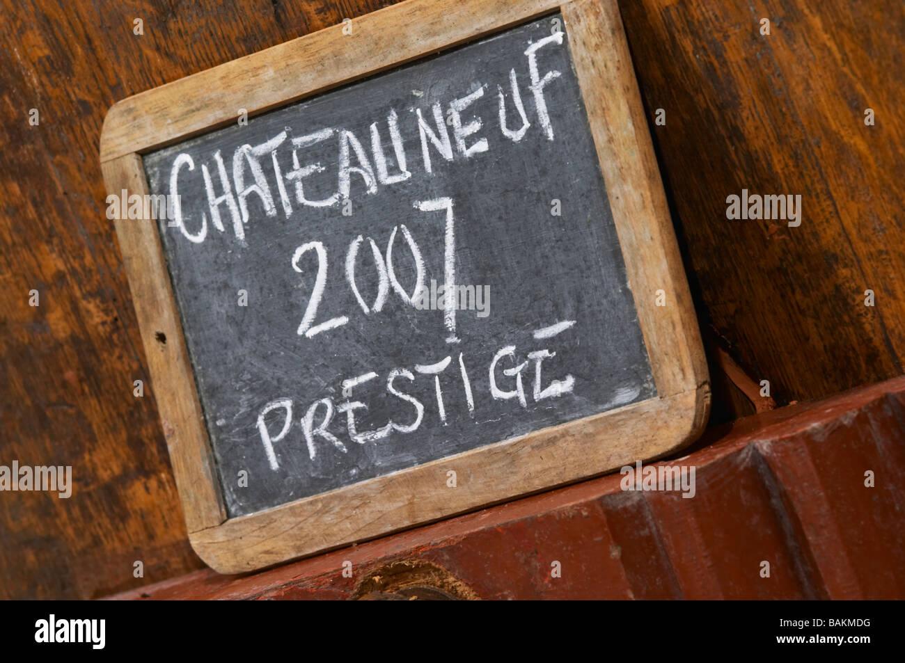 sign on tank 2007 prestige domaine roger sabon chateauneuf du pape rhone france - Stock Image