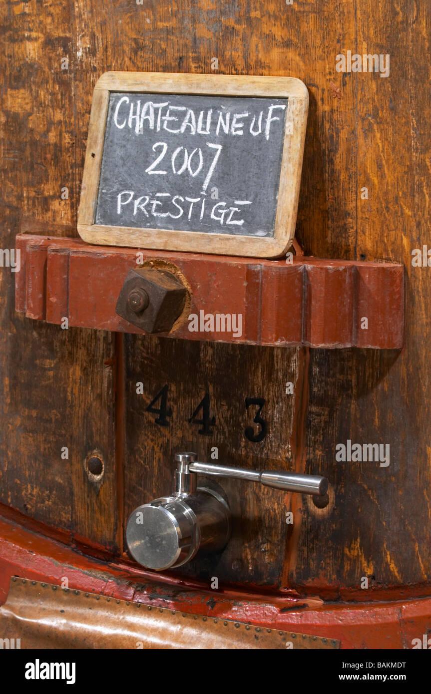 tank door sign on tank prestige 2007 domaine roger sabon chateauneuf du pape rhone france - Stock Image