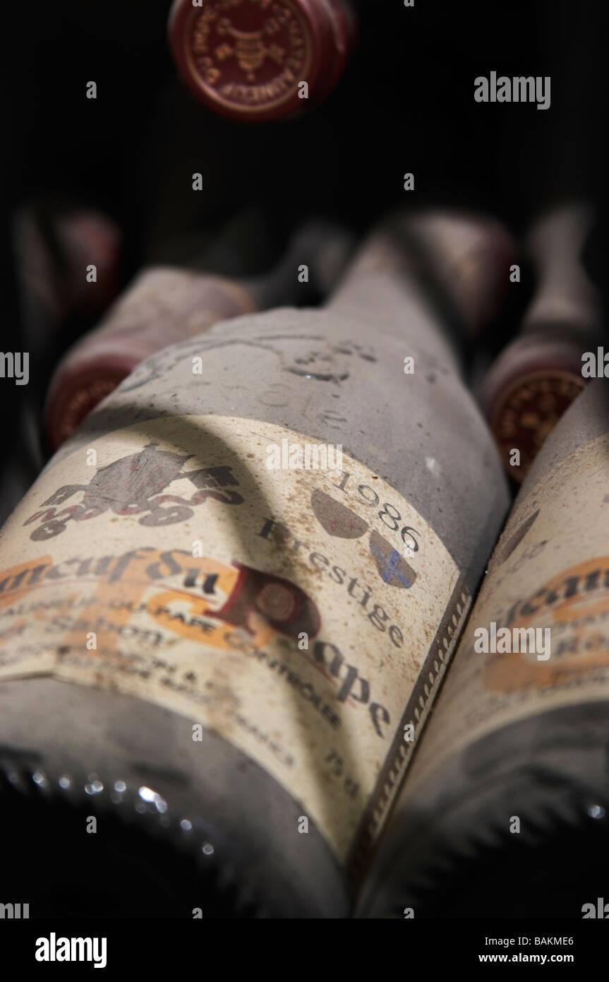 old bottles in the cellar 1986 cuvee prestige domaine roger sabon chateauneuf du pape rhone france - Stock Image