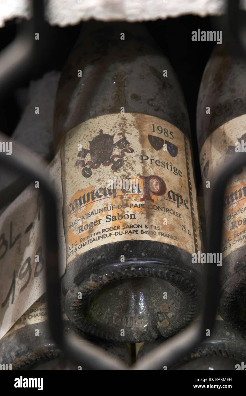 old bottles in the cellar 1985 cuvee prestige domaine roger sabon chateauneuf du pape rhone france - Stock Image