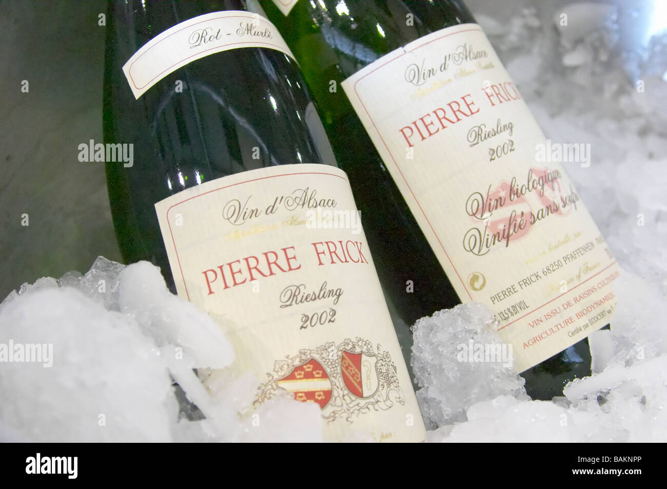 identical wines with and without sulphur riesling rot murle domaine pierre frick pfaffenheim alsace france - Stock Image