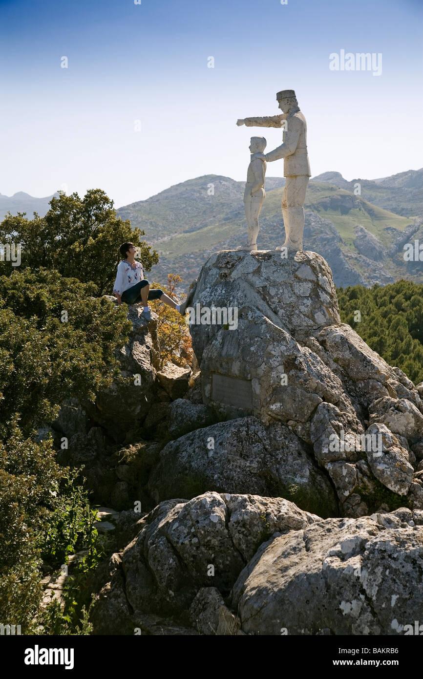 Monument to the Game Warden Serranía de Ronda Malaga Andalusia Spain - Stock Image