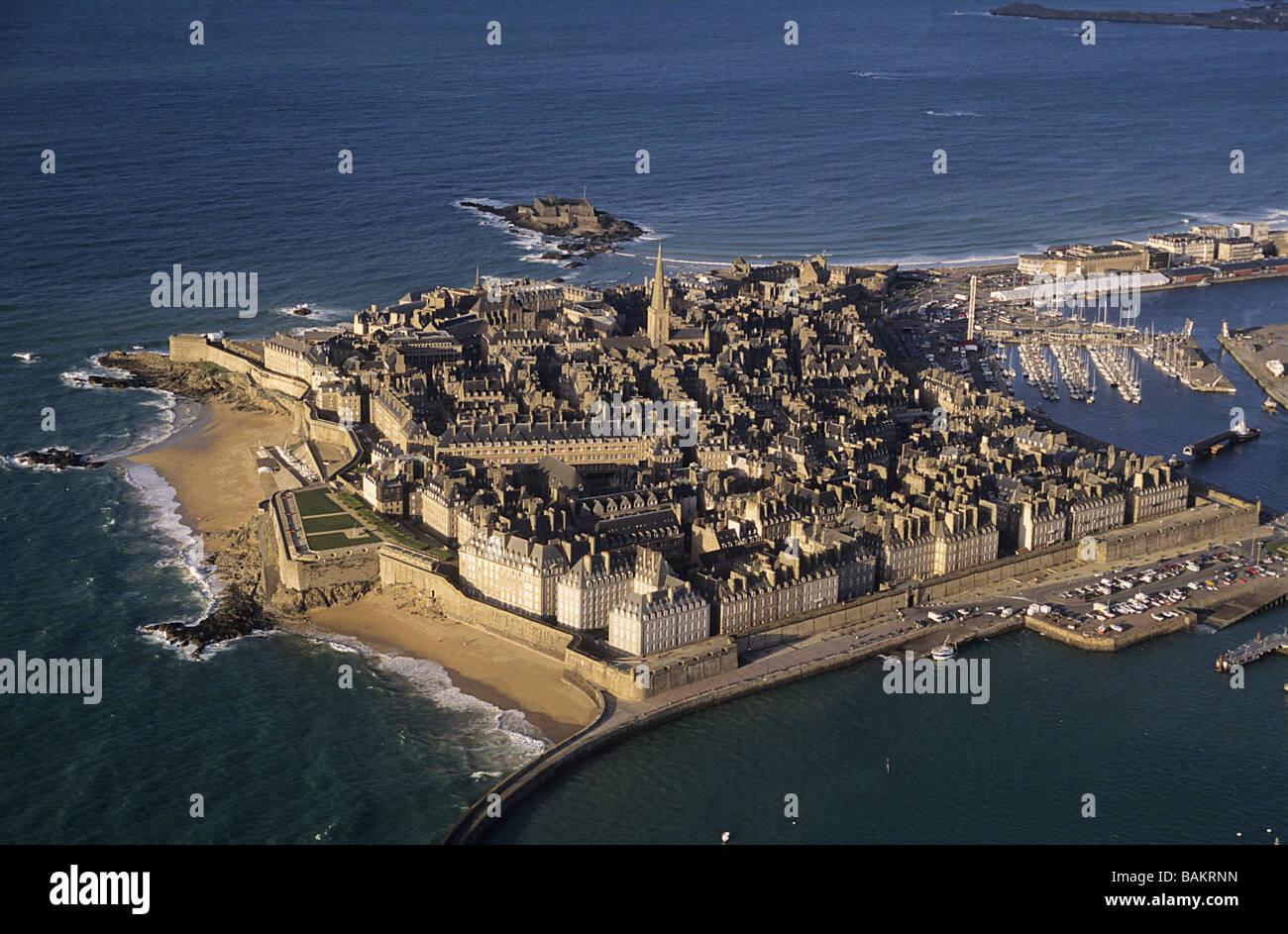 France, Ille et Vilaine, Saint Malo (aerial view Stock Photo - Alamy