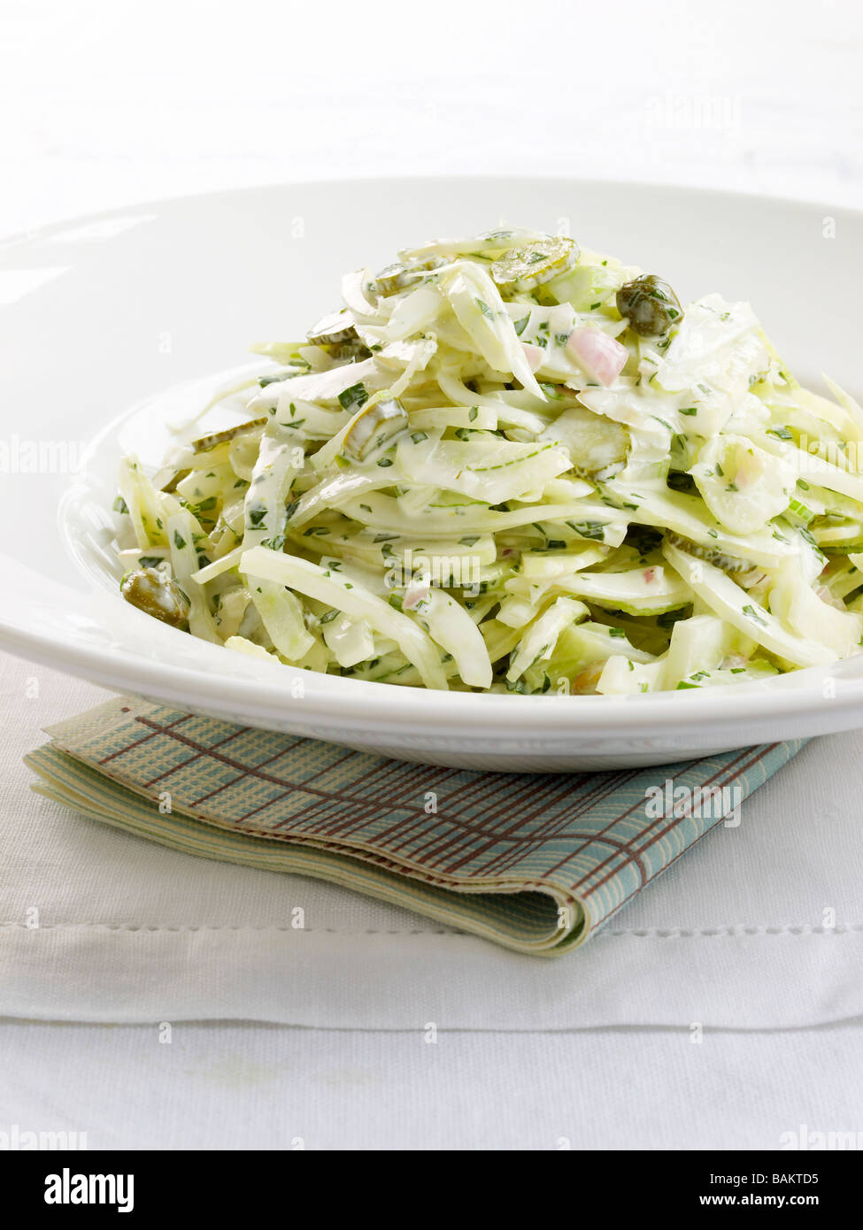 fennel remoulade with parsley, tarragon and capers - Stock Image