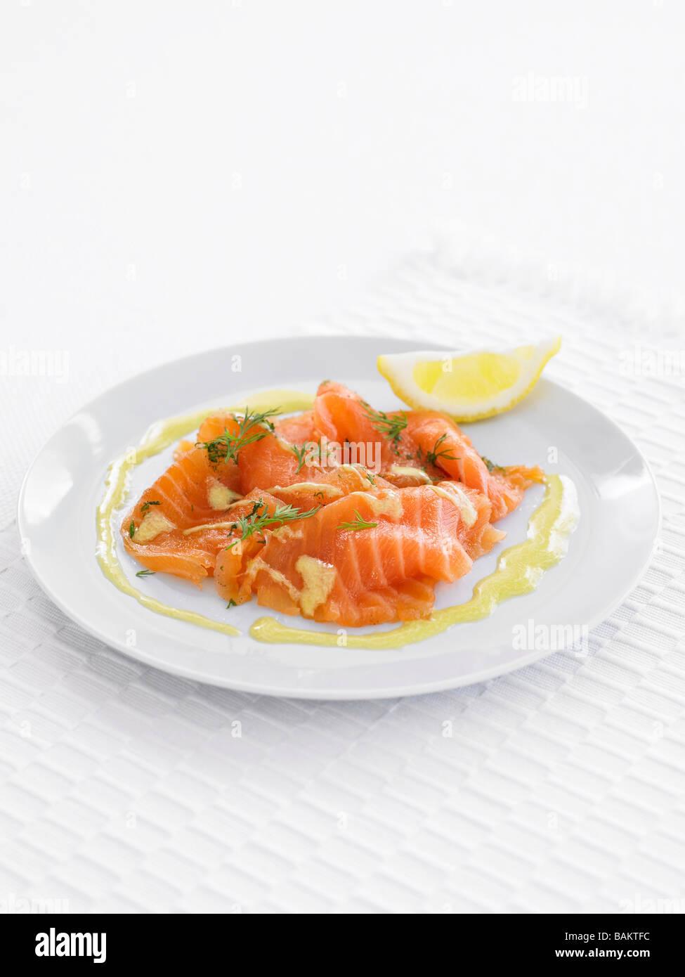 Marinated Salmon - Stock Image