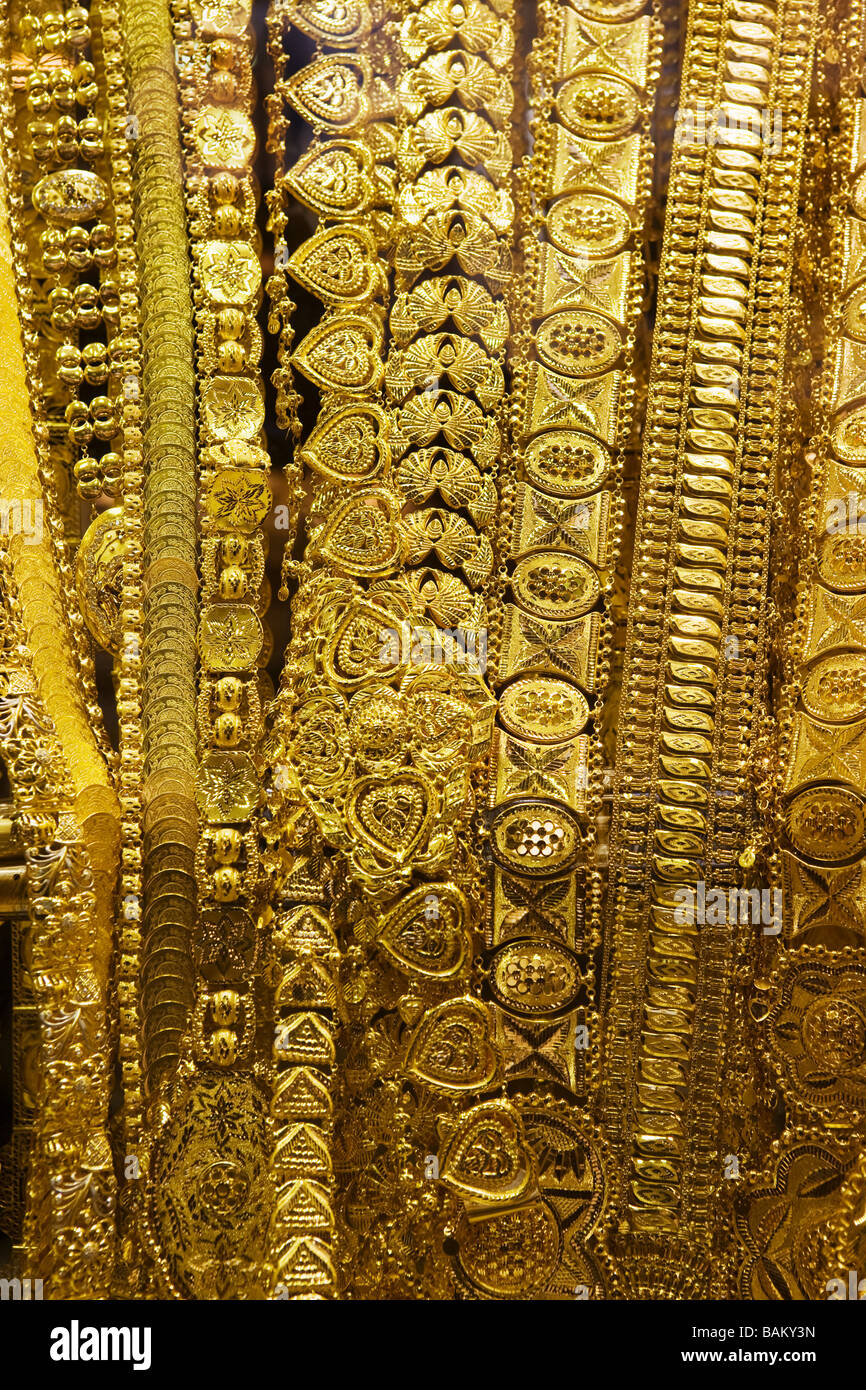 Jewellery in gold souk - Stock Image