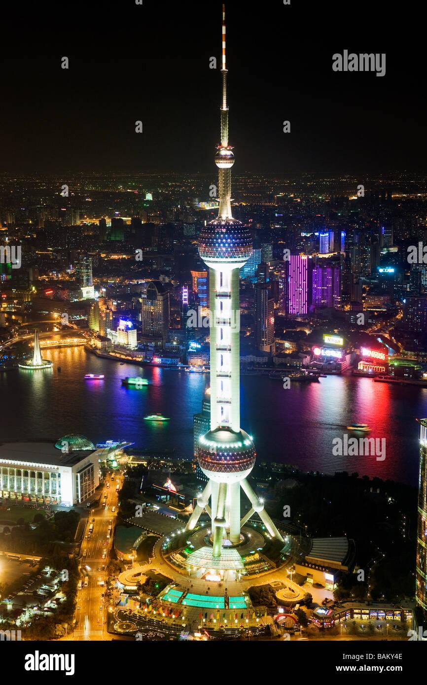 Oriental pearl tower shanghai Stock Photo