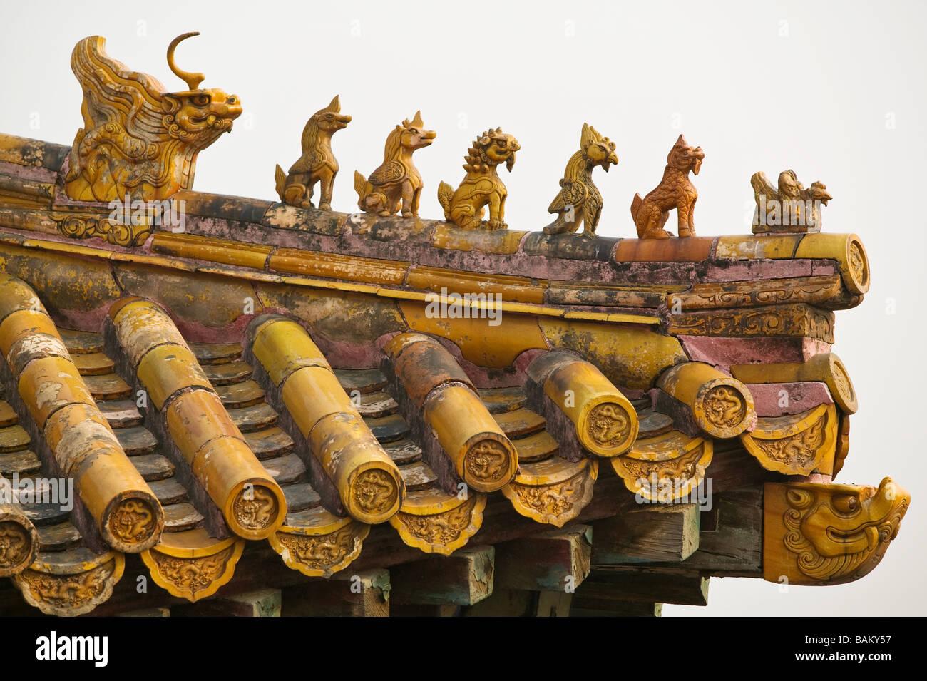 Roof in forbidden city beijing - Stock Image