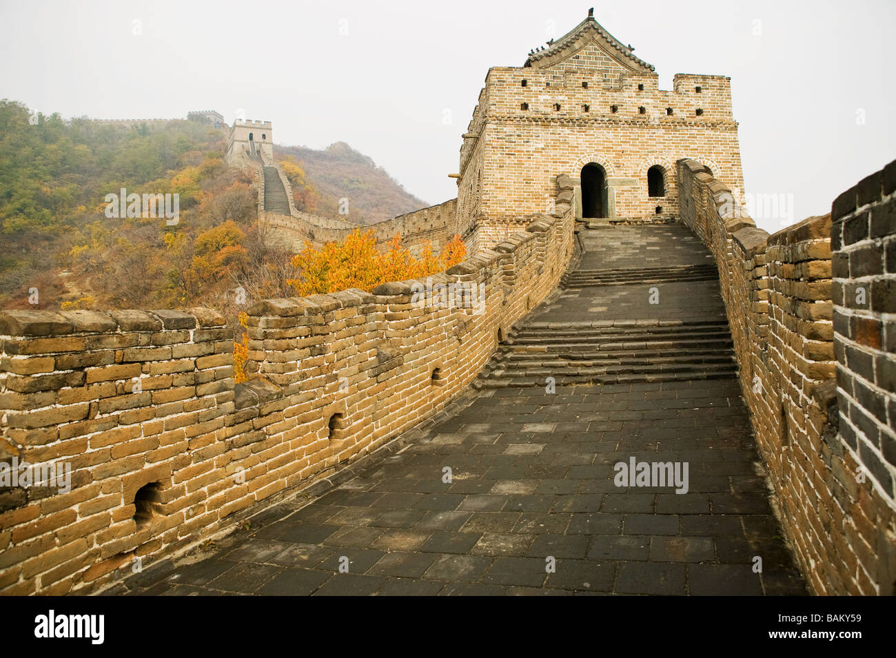 Mutianyu section of the great wall of china - Stock Image