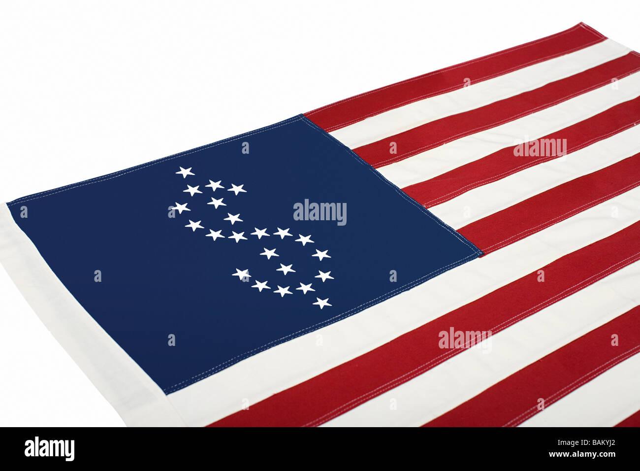 Dollar sign on american flag Stock Photo