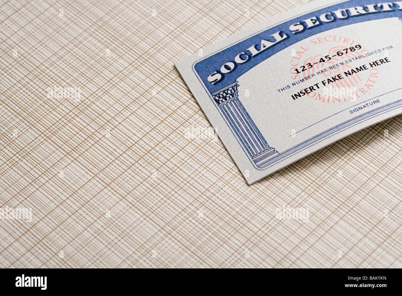 Card Fake - 23795737 Alamy Stock Social Security Photo