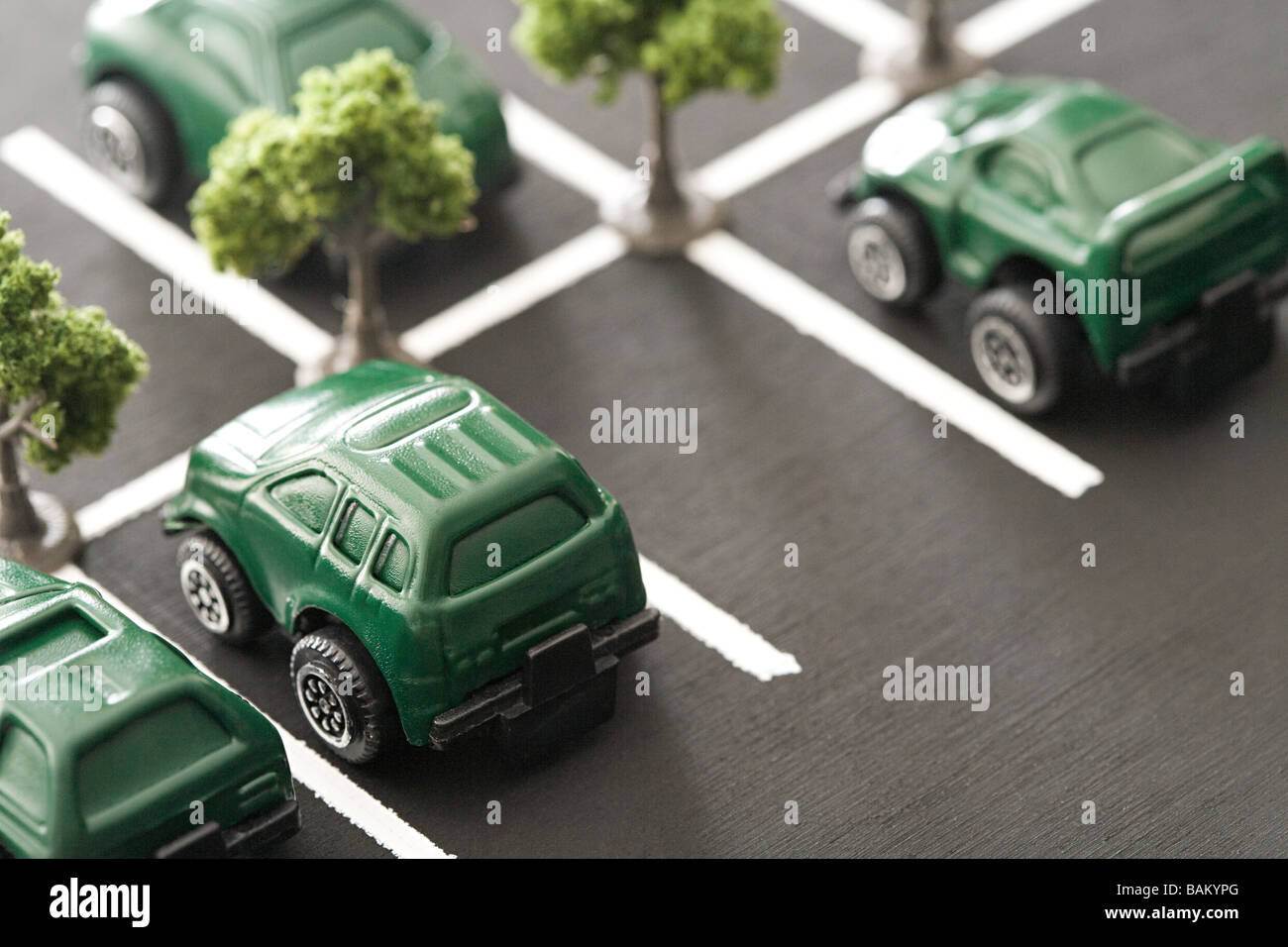 Eco cars in parking lot Stock Photo