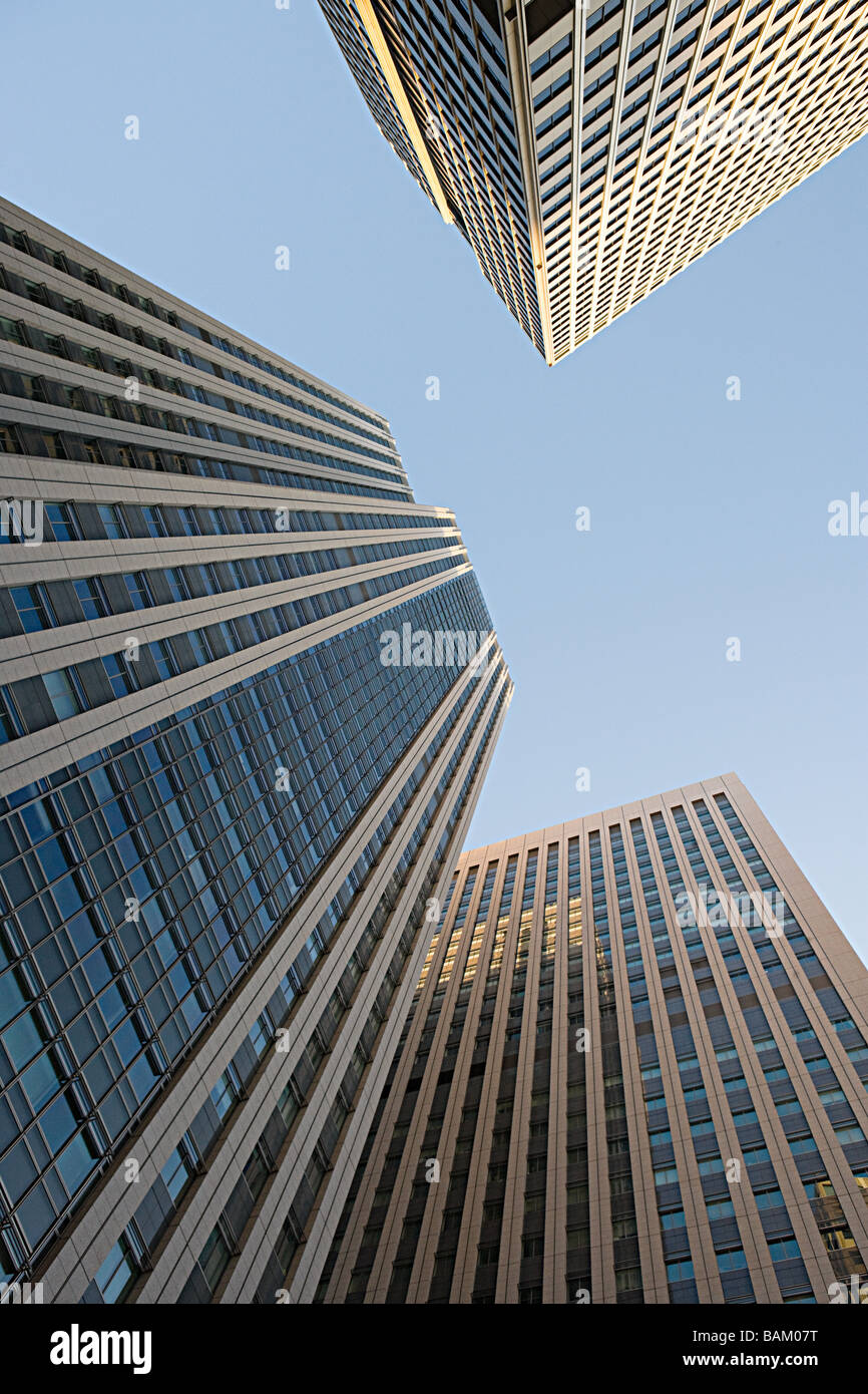 Low angle view of sky scrapers - Stock Image