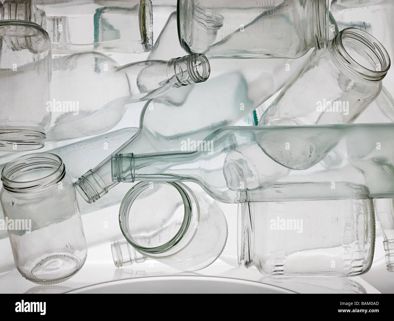 Empty jars and bottles - Stock Image
