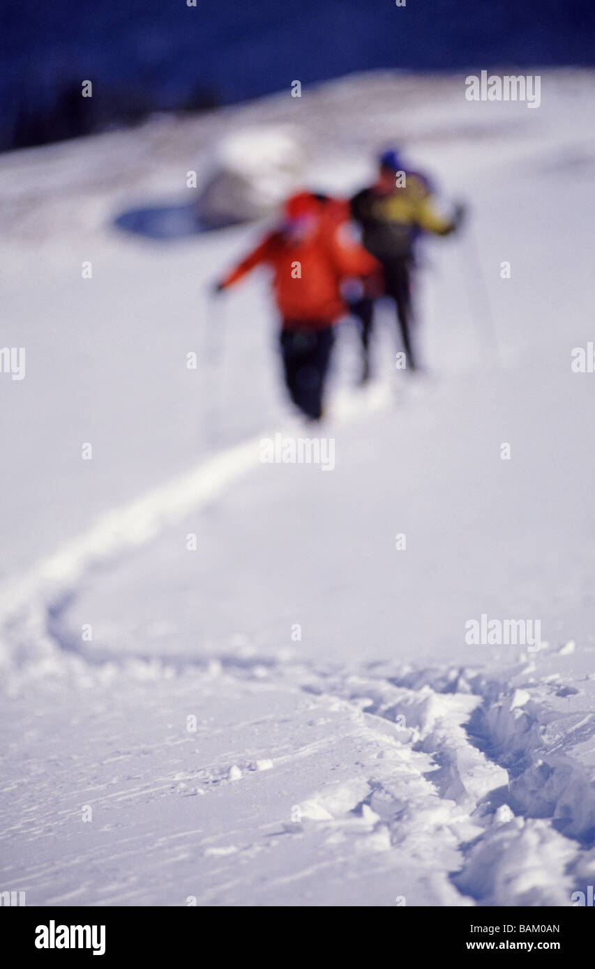 Climbers in canadian rockies Stock Photo