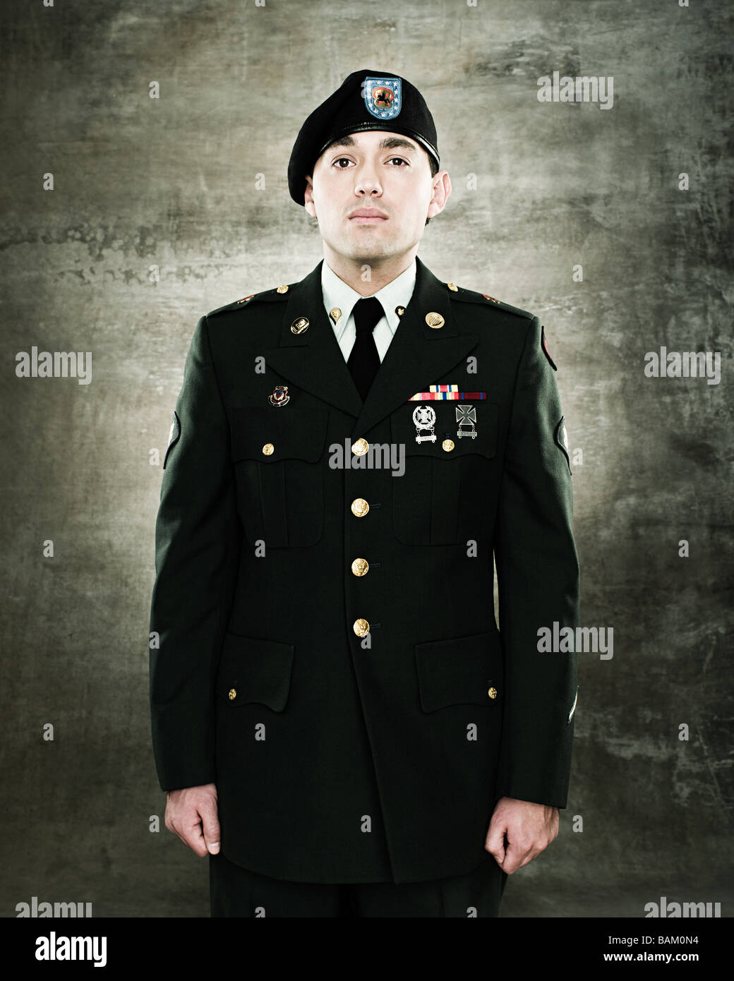 Portrait of soldier - Stock Image