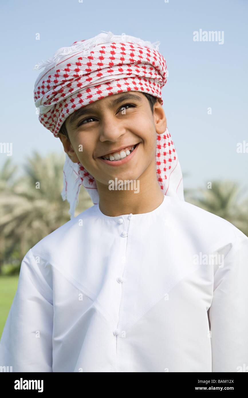 Portrait of a boy wearing a headdress Stock Photo