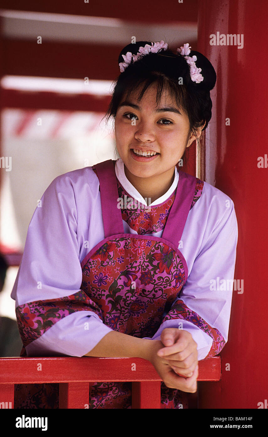 china hong kong portrait of a girl in traditional outfit stock