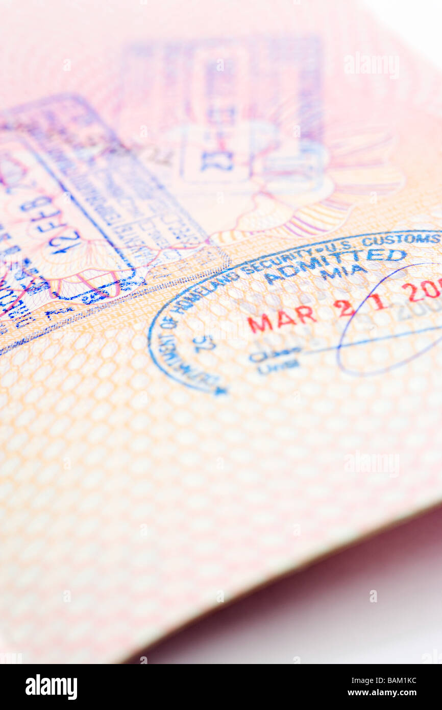 Stamped passport - Stock Image